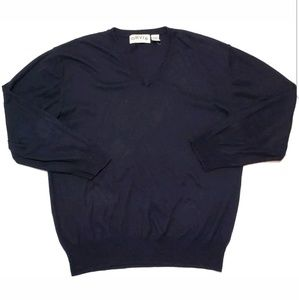 Orvis Mens Cashmere Blend Sweater V-Neck Navy Blue